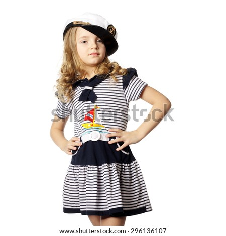 little girl in a marine dress