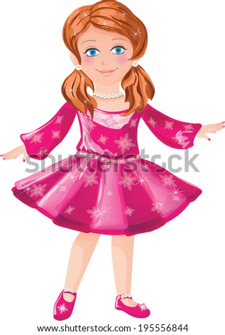 little girl in a pink dress on a white background - stock photo