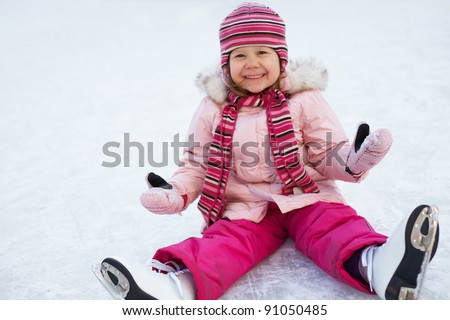 Little Girl Falls On-Ice
