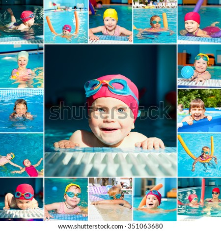 Little girl in a swimming pool collection - stock photo