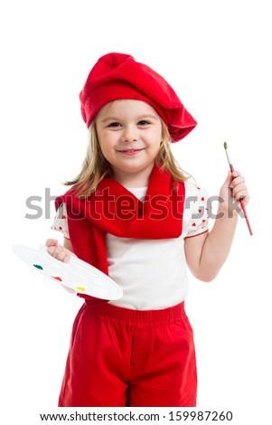 little girl in artist costume isolated - stock photo