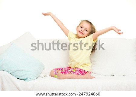 little girl in bed. white background - stock photo