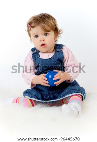 little girl in blue jeans dress