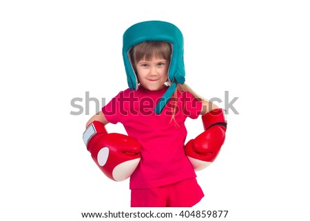 Little girl in boxing gloves and helmet posing isolated on white background