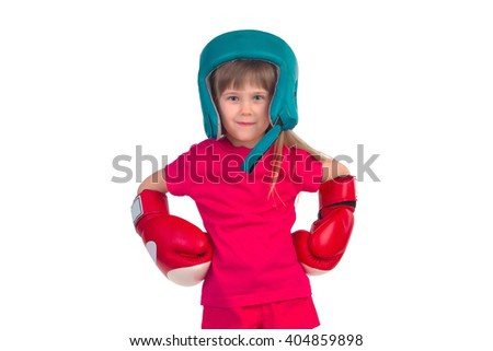 Little girl in boxing gloves and helmet posing on a white background