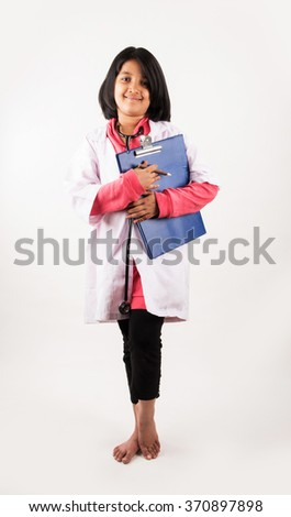 little girl in doctor uniform, asian girl wearing doctor's dress, indian little girl doctor, cute indian doctor, small doctor, isolated on white