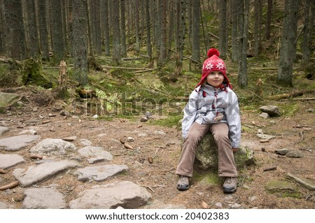 Little girl in montain route