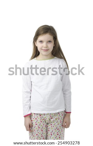 Little girl in nightwear  isolated on white