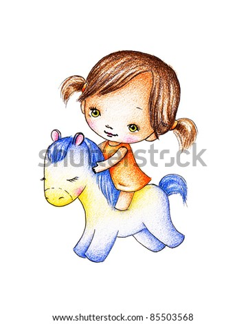 Little girl in orange dress on a blue toy horse - stock photo