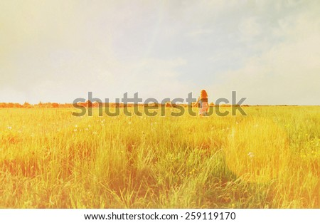 Little girl in pink dress running on summer green meadow, rear view. Image with sunlight effect - stock photo