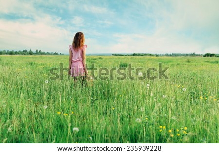 Little girl in pink dress standing with suitcase on summer green meadow, rear view - stock photo