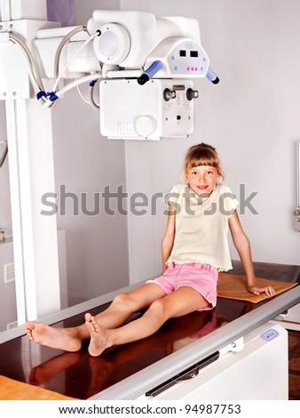 Little girl in radiologist hospital. - stock photo