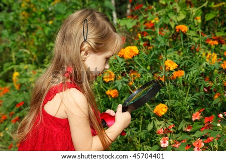 Little girl in red dress considers flower through magnifying glass. - stock photo