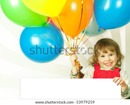 little girl in red with balloons business card in his hand - stock photo
