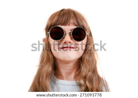 Little Girl in the Black Glasses Isolated on the White Background - stock photo