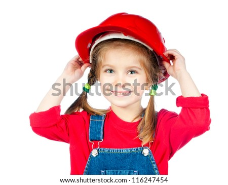 little girl in the construction helmet on a white background - stock photo