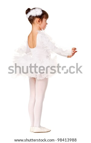 Little girl in the dance pose. Isolated over white - stock photo