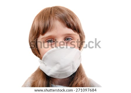 Little Girl in the Mask Isolated on the White Background - stock photo