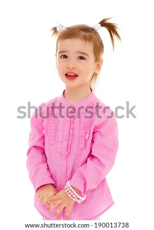 little girl in the studio.Isolated on white background. - stock photo