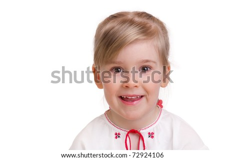Little girl in traditional ukrainian costume on white background