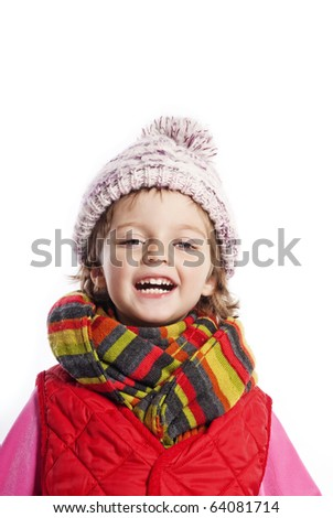 little girl in winter time - stock photo