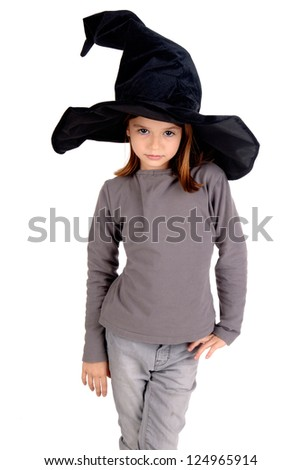 little girl in witch costume