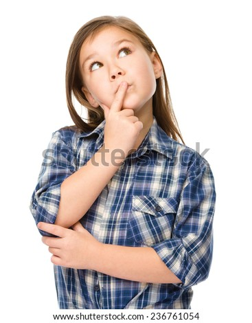 Little girl is daydreaming, isolated over white - stock photo