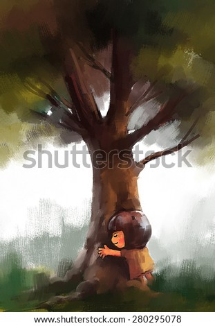 Little girl is hugging a tree trunk, watercolor illustration - stock photo