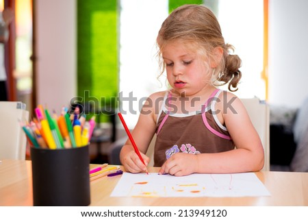 little girl is painting