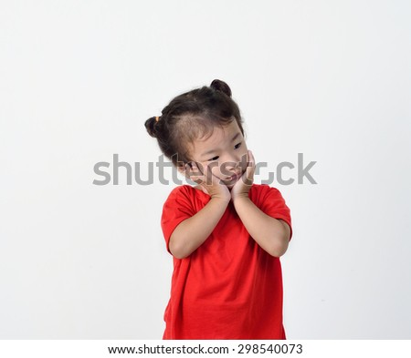 little girl is thinking on white background.