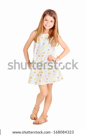 little girl isolated in white