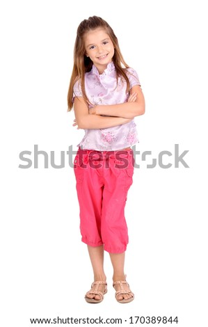 little girl isolated in white - stock photo