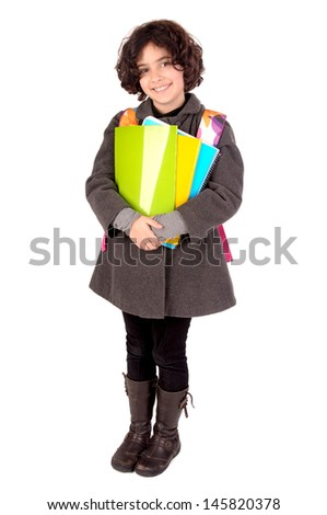 little girl isolated in white with books