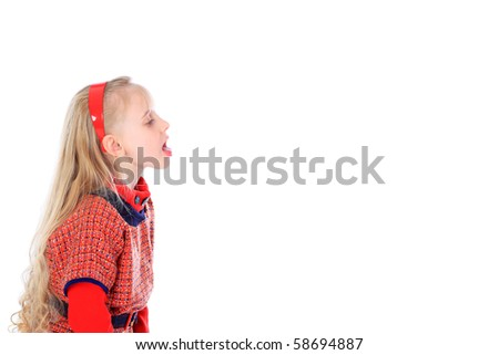 Little girl. Isolated over white background.