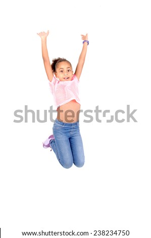 little girl jumping isolated in white background - stock photo