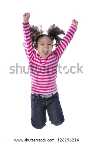 Little Girl Jumping with Joy Isolated on White Background - stock photo