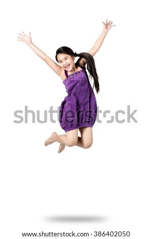 Little girl jumps, Isolated on white