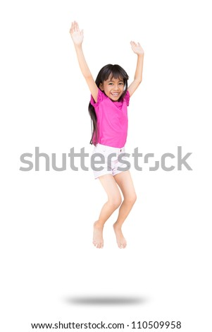Little girl jumps, Isolated on white with clipping path