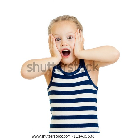Little girl kid surprised with hands on her face isolated on white background - stock photo