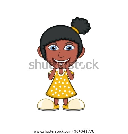 Little girl laughing cartoon - stock photo