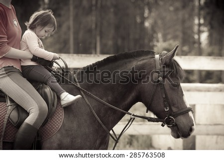 Little girl Learning horseback riding - stock photo