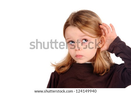 little girl listening - stock photo