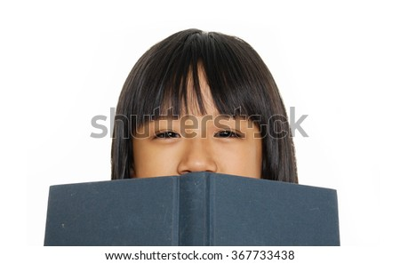 little girl looking over empty board isolated