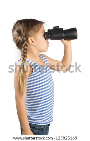 Little Girl Looking through Binoculars, Isolated on White