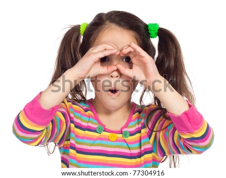 Little girl looking through imaginary binocular, isolated on white