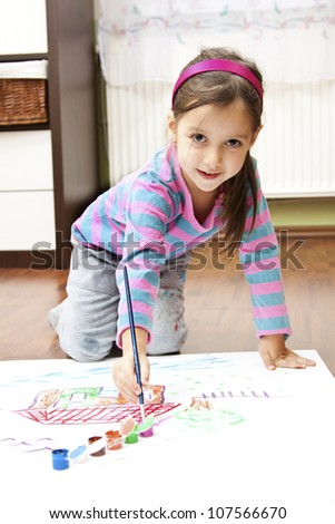 little girl making a draw concept - stock photo