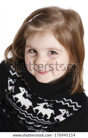 Little girl making faces - stock photo