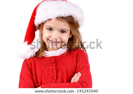 little girl on christmas isolated in white - stock photo