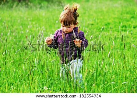 Little girl  on meadow - stock photo