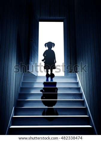 Little Girl On Steps Leading From A Dark Basement To Open The Door. 3d  Render